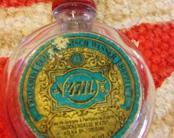 Vintage cologne perfumerie bottle aqua lable