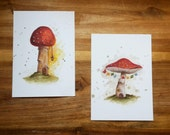 Set of 2 Toadstool Faery House Postcard Prints