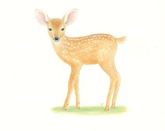 "FAWN Baby Deer Painting Animal Art  Original 8 x 10"" by Sharon France  Nursery Art Deer Illustration Wildlife Animal Painting  Childrens Art"