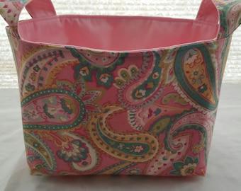 Fabric Organizer Container Paisley pink  Bin Storage Basket