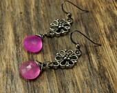 Valentine SALE - Hot Pink Chalcedony Filigree Oxidized Silver Earrings