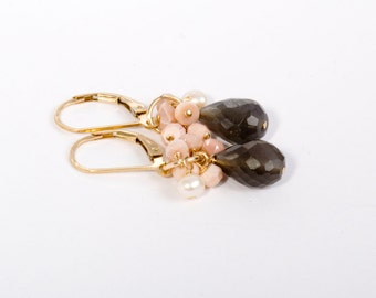Gemstone Cluster Earrings, Cluster Earrings, Gold Cluster Earrings, Pink Cluster Earrings, Coastal Inspired, Summer Jewelry, Beach Jewelry