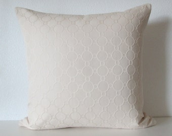 Pillow Cover - Cream solid - circles - Cushion Cover - Decor Cover pillow