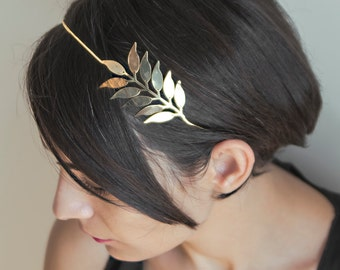 Palme d'Or Headpiece | Gold Hair Jewelry | Bridal Hair Accessory | Rose Gold Headband | Gift For Her | Head Wreath Gold Tiara for Wedding