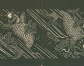 Carp Swimming Japanese Stencil, 1893 Antique Print 26, Black White Japanese Wall Decor, Japan Design, Art Deco, Art Nouveau, Eclectic Style
