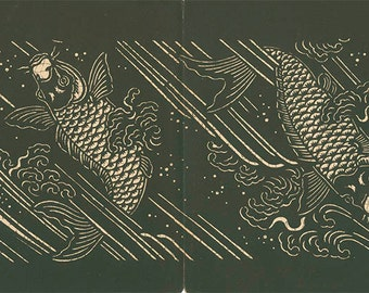 Carp Swimming Japanese Stencil Print, 1893 Antique Print 26, Black White Japanese Wall Decor, Japan Design, Art Deco, Art Nouveau