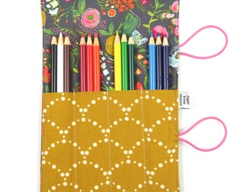 Mini Pencil Case - Budquette Nightfall  - art party favor, flower pencil roll, Bible Journaling, adult coloring, colored pencil holder