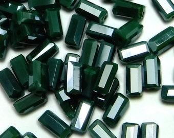 100 pcs Green Glass Tube Beads 7x3 mm Czech Tube Beads B-176