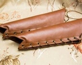 SMALL chestnut brown pleather Long Pointy Bracers with brass and brown Ribbon Laces (PAIR)