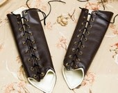 SMALL dark brown pleather Long Pointy Bracers with brass and black Ribbon Laces (PAIR)
