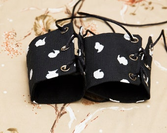 SALE! small black and white polkadots Cuffs with black Lace Brass Grommets and Brown Laces (PAIR)