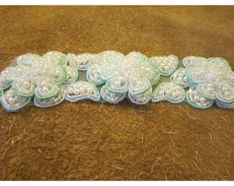 Strip of 3 Mint Green and White Beaded and Pearl Flowers Appliqués