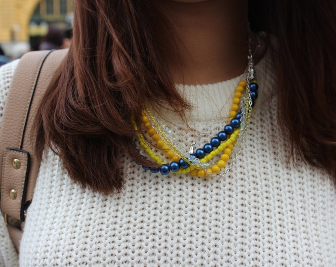 Blue and Yellow Dahlia Statement Necklace