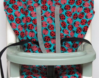 Graco  highchair cover **SALE** baby accessory, replacement cover, ship ready, high chair cushion, kids and baby, baby care, ladybug on aqua