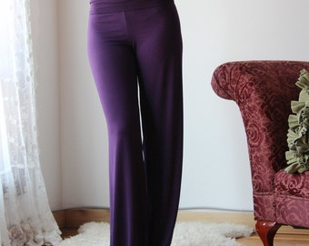 bamboo lounge pant with foldover waist and wide leg - CATHEDRAL - made to order