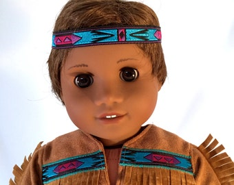 American Girl Doll sized Native American Boy Costume with blue trim