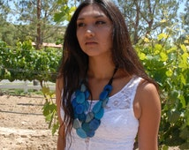 Chantal Eco-friendly colorful/ tagua nut tagua bold layered necklace by Allie/Ocean colors/greens amd other colors