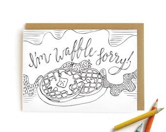 Waffle Sorry - letterpress card