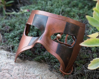 Brown and Copper Leather Masquerade Mask