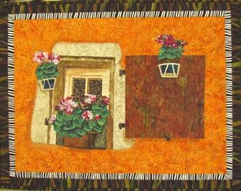 Window with Shutter Original Fiber Art by Lenore Crawford