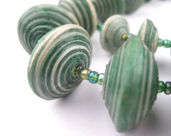 Green Paper Bead Necklace from Uganda Made from Recycled Newspaper & Scrap Paper - Fair Trade Wrap Around African Jewelry (PPR-DSK-GRN-151)