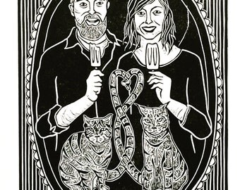 Custom Block Print Portrait, Valentines Day gift, Mothers Day Gift, Family Portrait, Pet Portrait