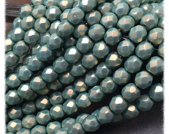 Satin Seafoam Green Faceted Firepolish 6mm Czech Glass Beads