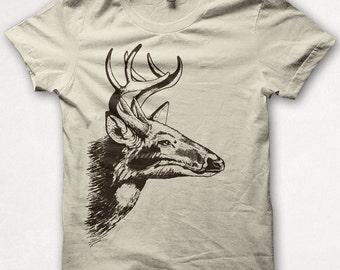 Womens Tshirt, Deer, Screenprinted Shirt, Buck, Antlers, Graphic Tee - Cream