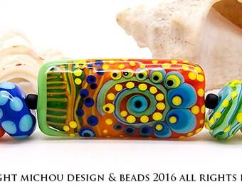 Flower Power - Set // Modern Glass Art // lampwork beads by Michou Pascale Anderson