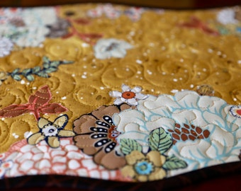 MarveLes AUTUMN FALL FLORAL Collage Quilted Table Runner Gold Peach Brown Cream Turquoise Accents