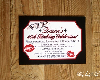 25 VIP Movie Ticket Birthday Invitations - Old Hollywood Marilyn Monroe Lips and Kisses- By My Lady Dye