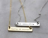 Nameplate Necklace | Date necklace | ID Tag Necklace | Custom Bar | Handstamped necklace | Name bar necklace | Date necklace