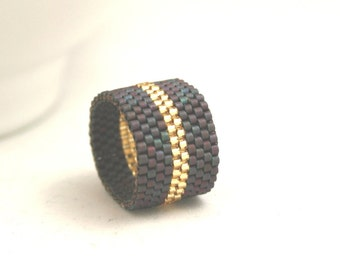 Peyote Ring . Beadweaving Ring . Dark Copper and Sparkling Gold Stripe Ring . Seed Bead Jewelry