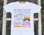 Girls First Day of School Outfit - Personalized 1st Day of Preschool Shirt - Kids Back to School Shirt - Girl My First Day of School T-shirt