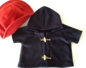 "18"" Teddy Bears Blue Toggle Coat, Red Floppy Hat  Costume"