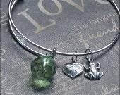 Silver Bangle Bracelet Frog Charm Bracelet Alex Ani Inspired Heart Leaf Frog Bangle Adjustable Bracelet TheEnchantedLocket Gift FROG Prince