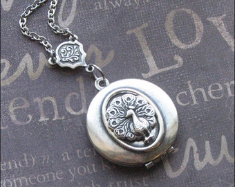 Peacock Locket, Photo Picture Necklace, Locket Jewelry, Locket For Woman, Bird Necklace, Vintage Style, Silver Bird Locket, Garden Wedding