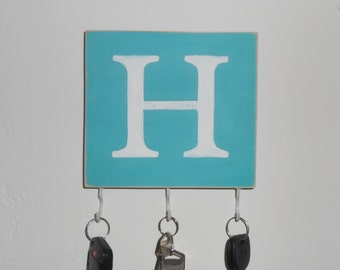 key rack personalized wood hook sign monogram any letter