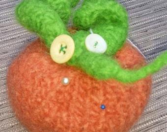 Hand Knit Felted Pumpkin Pincushion