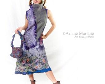 Nuno felt wearable art dress, reversible one of a kind women garment, handmade France, silk merino wool fuison, Paris Designer, floral art