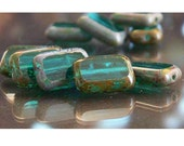 Teal Picasso Beads, Rectangle Czech Glass Beads 12mm 12