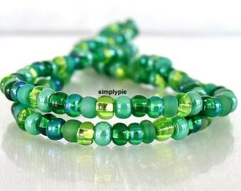 Emerald Isle Mix 6/0 Czech Glass Seed Beads 10-Inch Long Strand