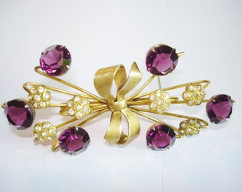 Amethyst Stones Clear Rhinestone Sterling  Brooch Signed Gold Tone