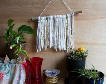 Wall Hanging - Natural Stick, White and Brown - Baby's Room