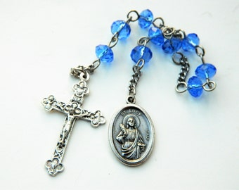 Blue Saint Lucy Rosary Prayer Chaplet: Patroness of Eye Problems