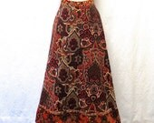 1970s Vintage Velvet Skirt / Persian Carpet Print Maxi Skirt-RESERVED for Edna