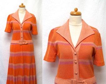 1960s / 70s Vintage Gino Paoli Knit Jersey Dress & Belt / Melon Lavender Peach Striped Shirtwaist Dress