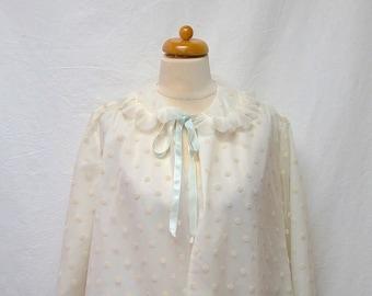 1950s Vintage Odette Barsa Bed Jacket / White Flocked Polka Dot Pleated Collar Jacket
