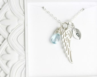 Memorial Necklace - Miscarriage Jewelry - Loss Gift - Silver Angel Wing Necklace - Bereavement Necklace - Remembrance Necklace Sympathy Gift