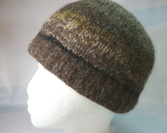 Brown wool felted cap with stripes of multi colored browns